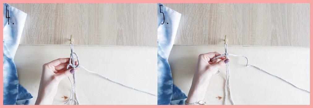 Serviettenringe basteln mit Makramee - Schritt 4-5