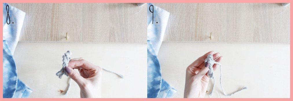 Serviettenringe basteln mit Makramee - Schritt 8-9