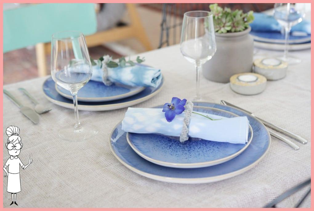 Serviettenringe basteln und Stoffservietten färben mit Shibori