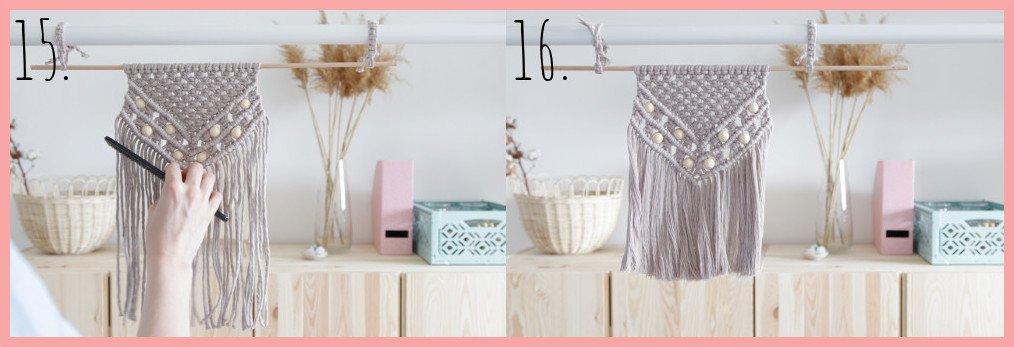 DIY Makramee-Wandbehang für Anfänger - Schritt 15-16