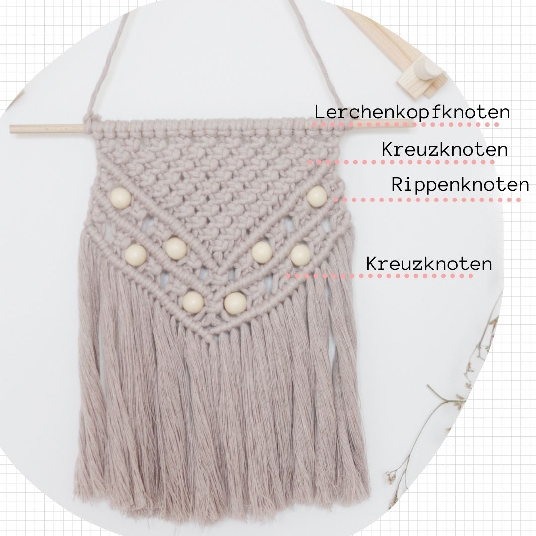Knotenübersicht Makramee-Wandbehang
