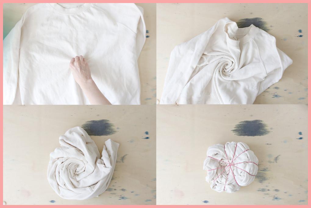 Batik färben mit frau friemel - Spirale drehen