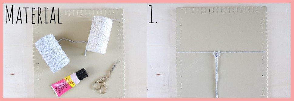 Makramee Blatt knoten als Herbstdeko - Material und Schritt 1