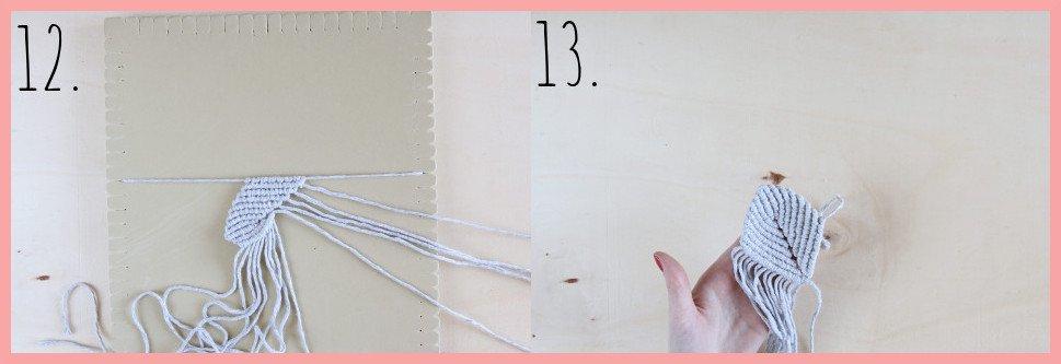 Makramee Blatt knoten als Herbstdeko - Schritt 12-13
