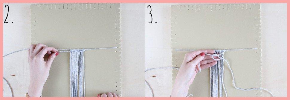 Makramee Blatt knoten als Herbstdeko - Schritt 2-3