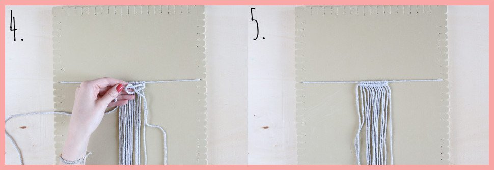 Makramee Blatt knoten als Herbstdeko - Schritt 4-5