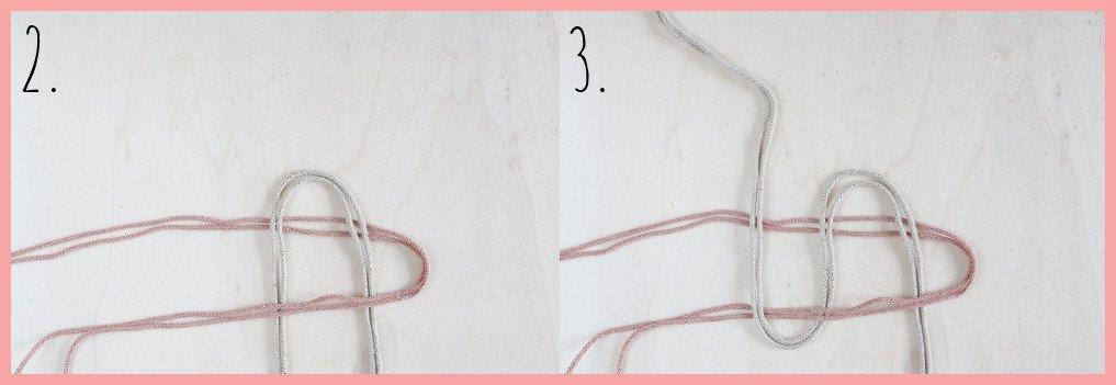 Makramee Zuckerstange selber machen - Schritt 2-3