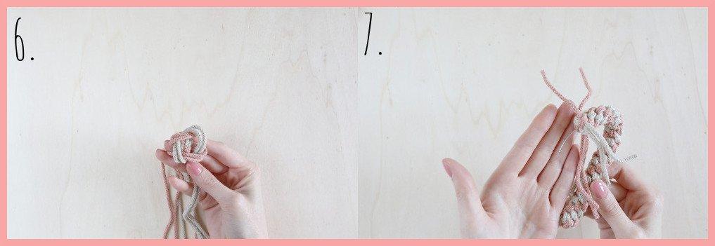 Makramee Zuckerstange selber machen - Schritt 6-7