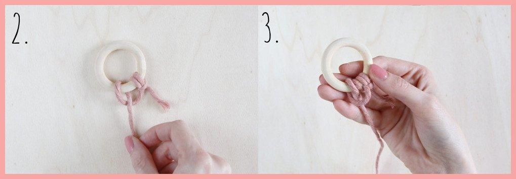 Runden Makramee Weihnachtsschmuck selber machen - Schritt 2-3