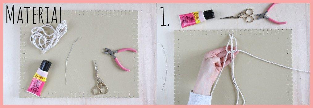 Upcycling Adventskranz selber machen mit Makramee - Material und Schritt 1