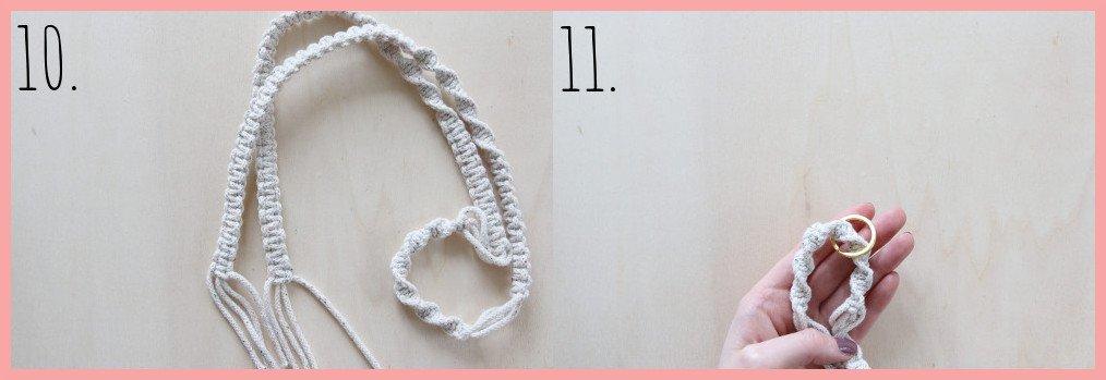 Makramee-Schlüsselband selbst gestalten - Schritt 10-11