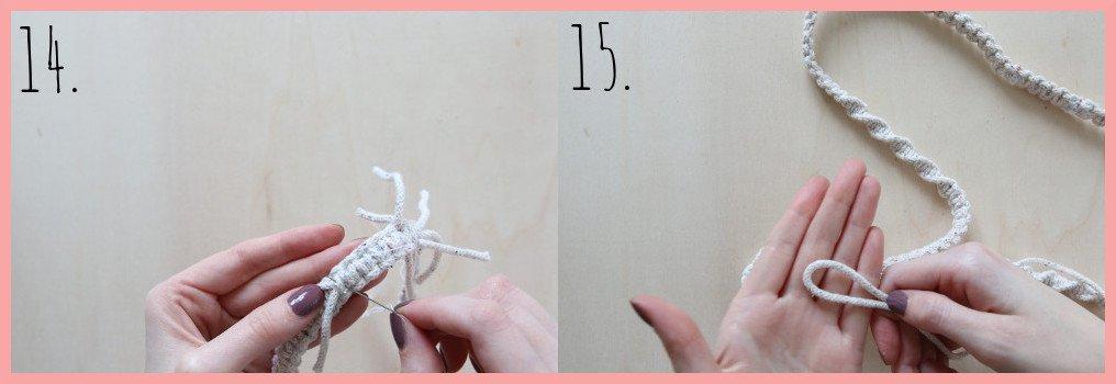 Makramee-Schlüsselband selbst gestalten - Schritt 14-15