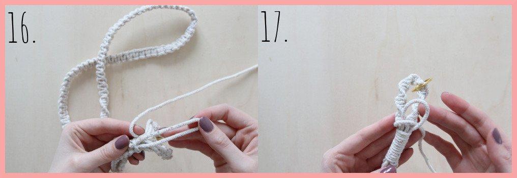 Makramee-Schlüsselband selbst gestalten - Schritt 16-17