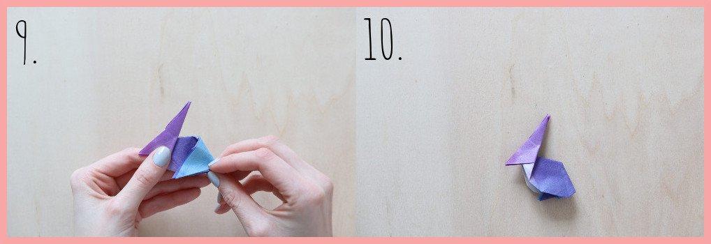 Origami Hase Anleitung - Schritt 9-10
