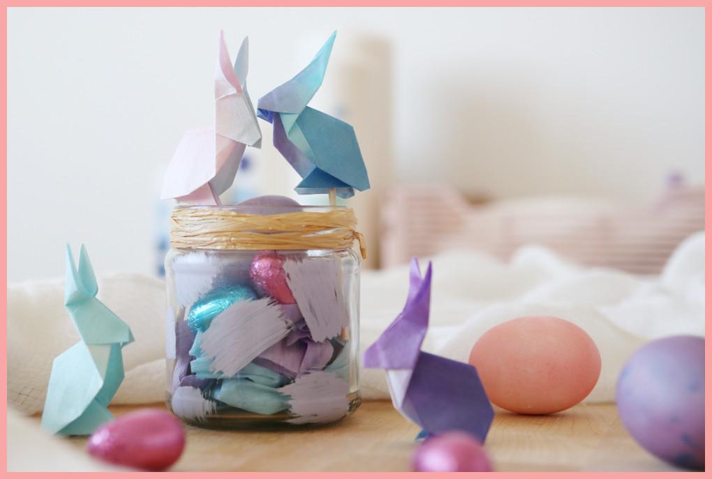 Origami Hase im Osterkörbchen