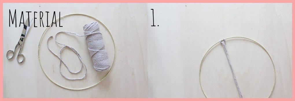 Makramee Traumfänger selber machen - Material und Schritt 1