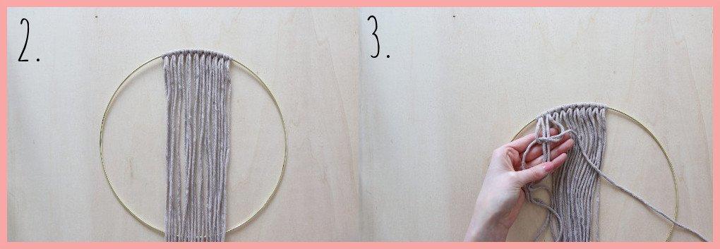 Makramee Traumfänger selber machen - Schritt 2-3
