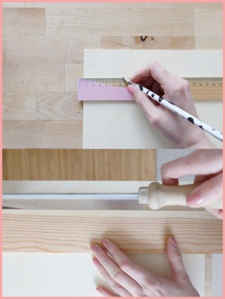 Schreibtischtisch DIYs mit Wiener Geflecht - Tipps fürs Zusägen