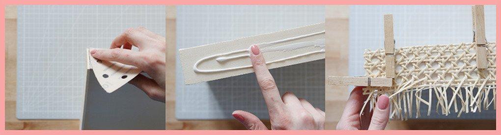 Schreibtischtisch DIYs mit Wiener Geflecht - Wiener Geflecht aufkleben