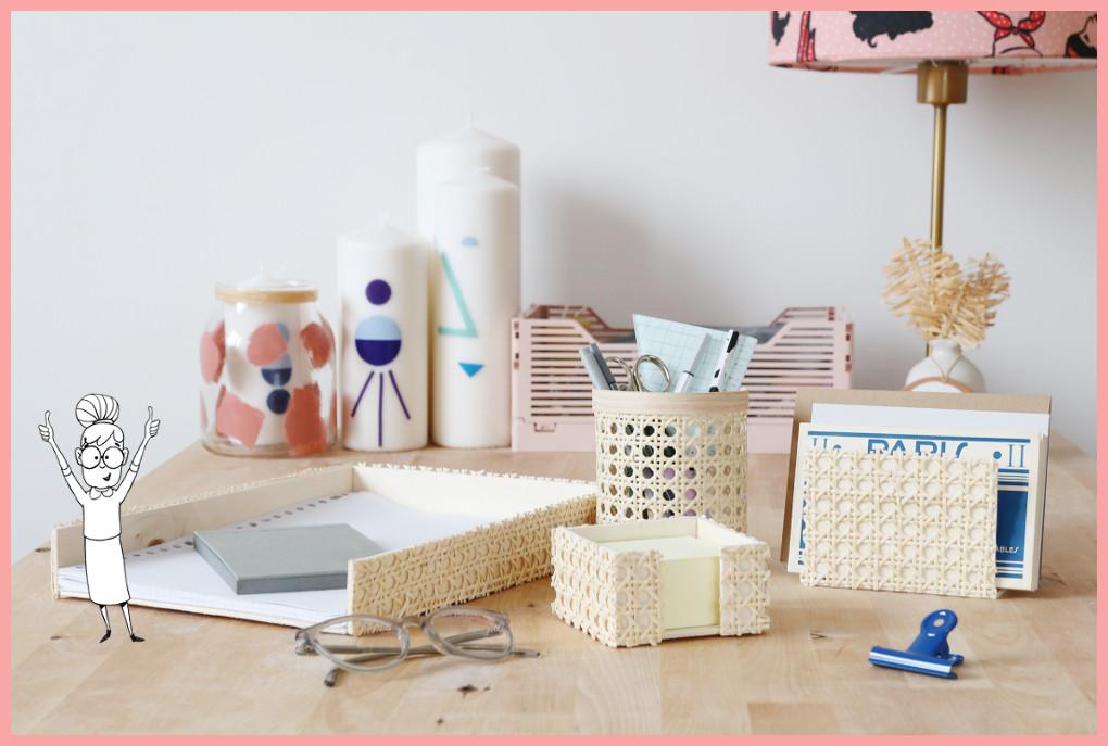 Schreibtischtisch DIYs mit Wiener Geflecht