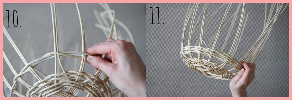 Lampe selber machen - Korblampe flechten - Schritt 10 und 11