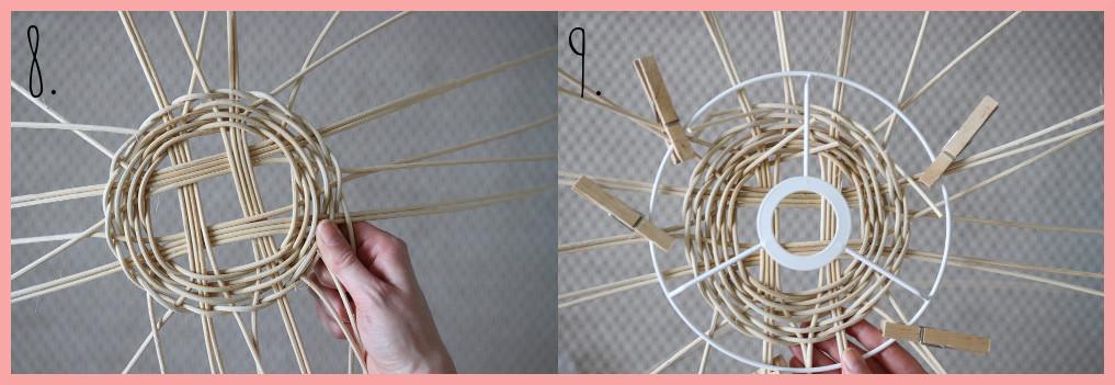 Lampe selber machen - Korblampe flechten - Schritt 8 und 9