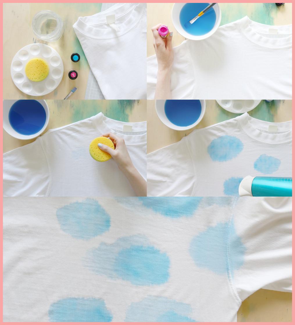 T-Shirt selber gestalten - Anleitung für Wolkenmuster