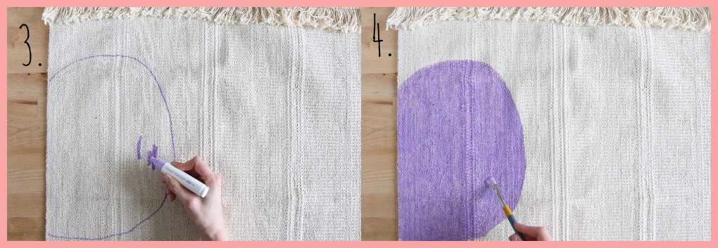 Wandteppich selbst gestalten mit geometrischen Mustern - Schritt 3-4