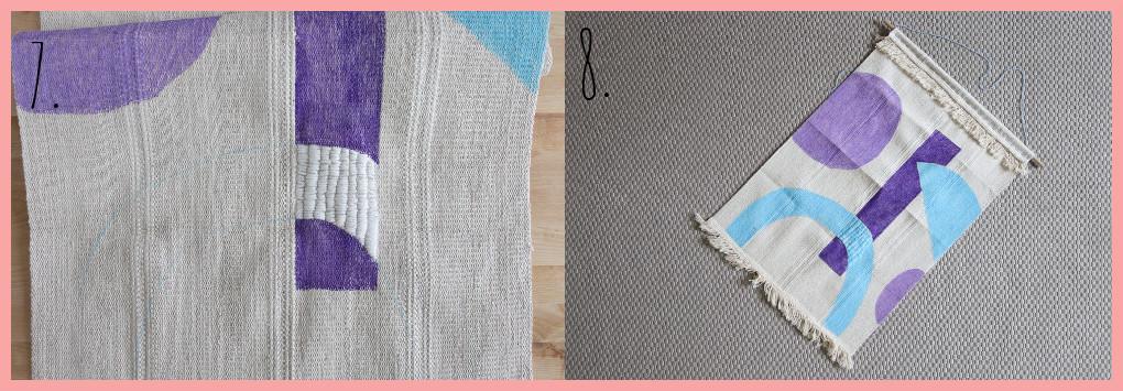 Wandteppich selbst gestalten mit geometrischen Mustern - Schritt 7-8