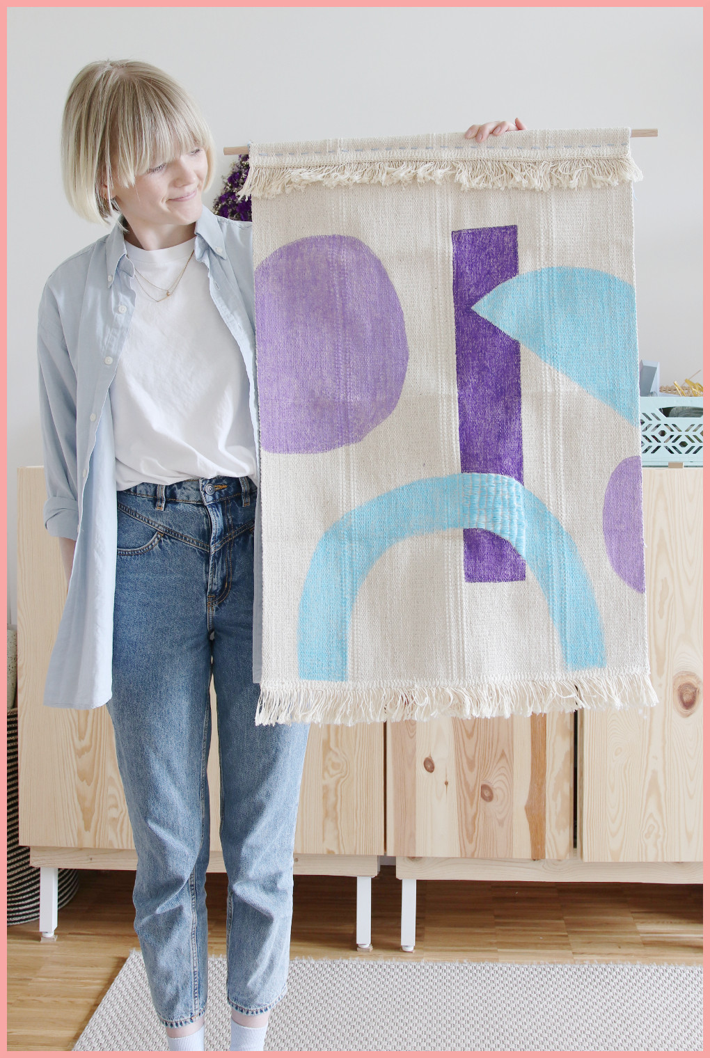 Wandteppich selbst gestalten mit geometrischen Mustern - Ergebnis
