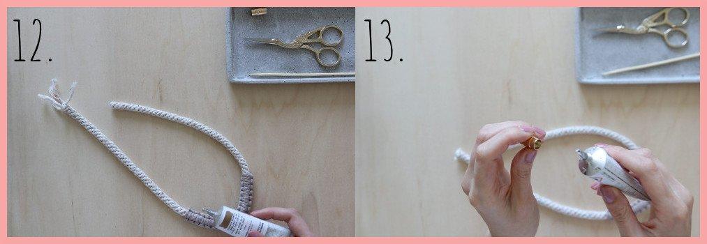 Makramee Kette selber machen - Schritt 12 und 13