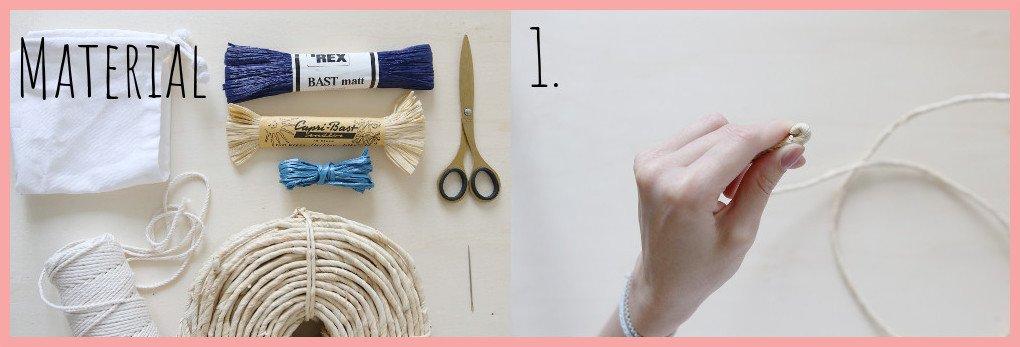 Tasche selber machen - Sommertasche aus Bast und Maisschnur - Material und Schritt 1