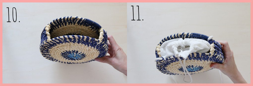 Tasche selber machen - Sommertasche aus Bast und Maisschnur - Schritt 10-11