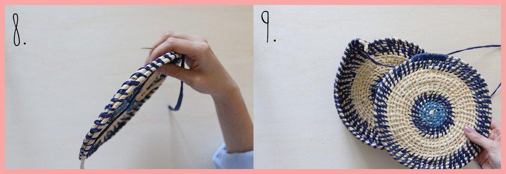 Tasche selber machen - Sommertasche aus Bast und Maisschnur - Schritt 8-9