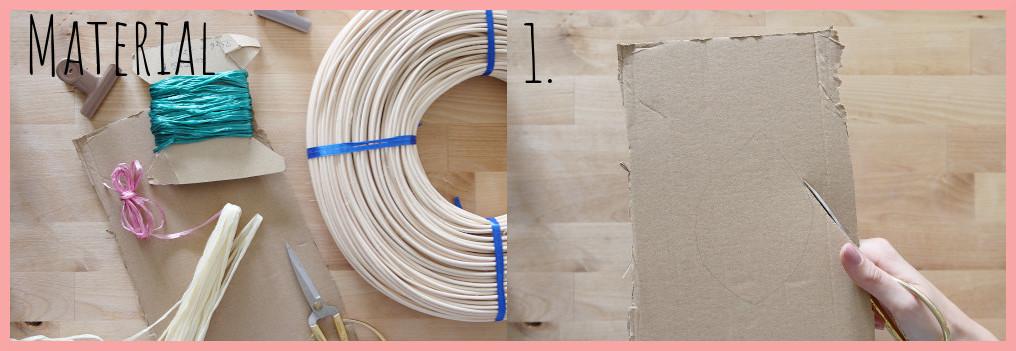 Herbstdeko basteln aus Pappe und Peddigrohr - Material und Schritt 1