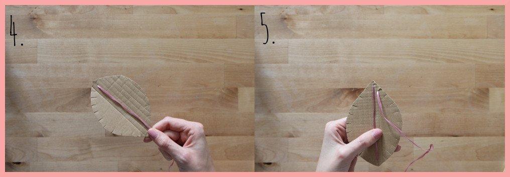 Herbstdeko basteln aus Pappe und Peddigrohr - Schritt 4-5