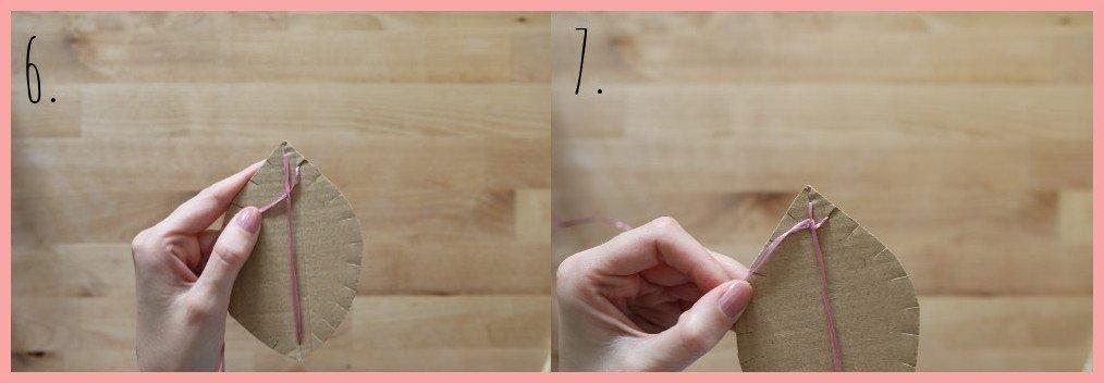 Herbstdeko basteln aus Pappe und Peddigrohr - Schritt 6-7