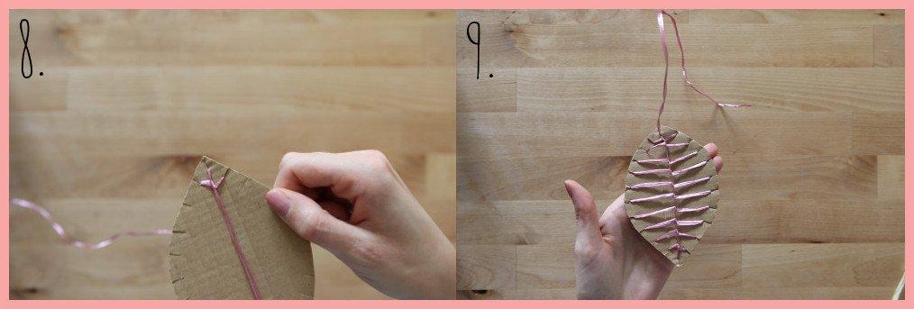 Herbstdeko basteln aus Pappe und Peddigrohr - Schritt 8-9