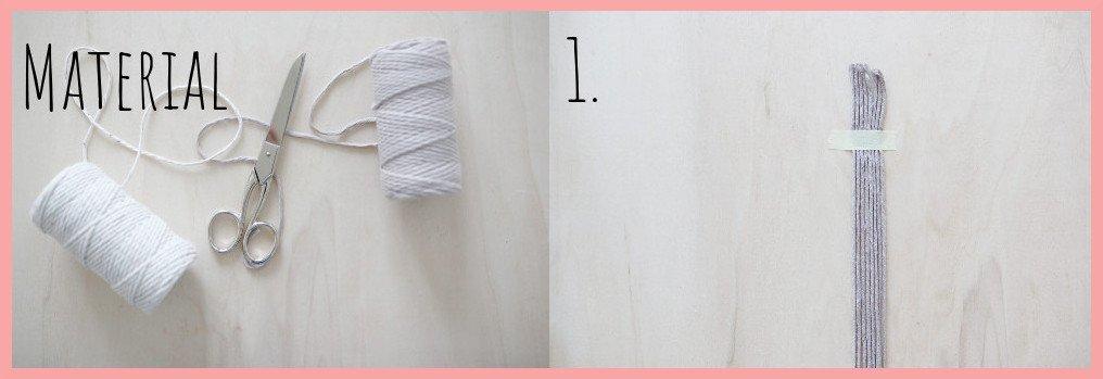 Makramee Lesezeichen Version Rippenknoten - Material und Schritt 1