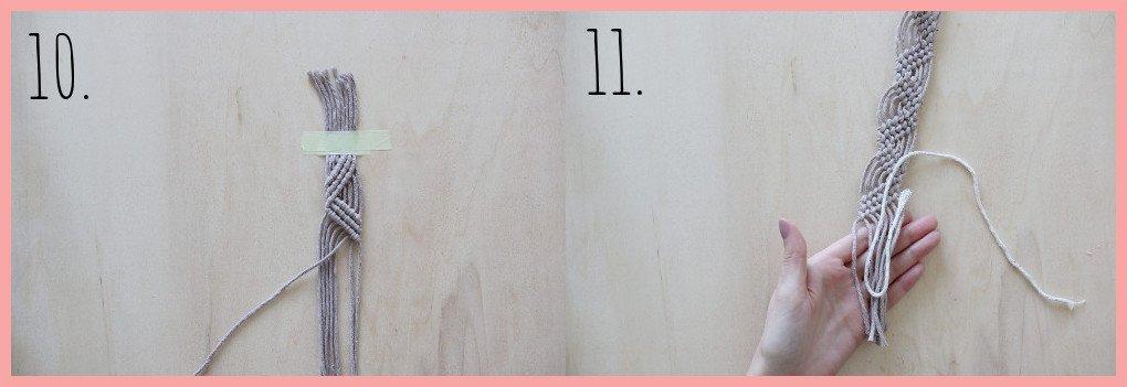 Makramee Lesezeichen Version Rippenknoten - Schritt 10-11