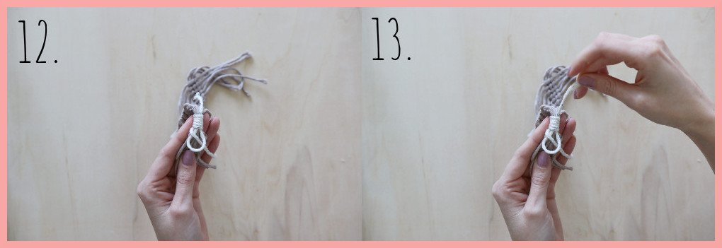 Makramee Lesezeichen Version Rippenknoten - Schritt 12-13