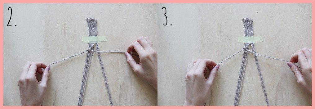 Makramee Lesezeichen Version Rippenknoten - Schritt 2-3