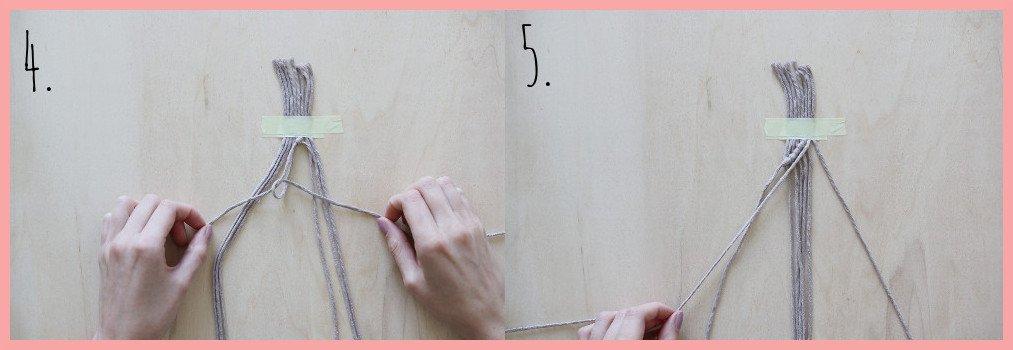 Makramee Lesezeichen Version Rippenknoten - Schritt 4-5