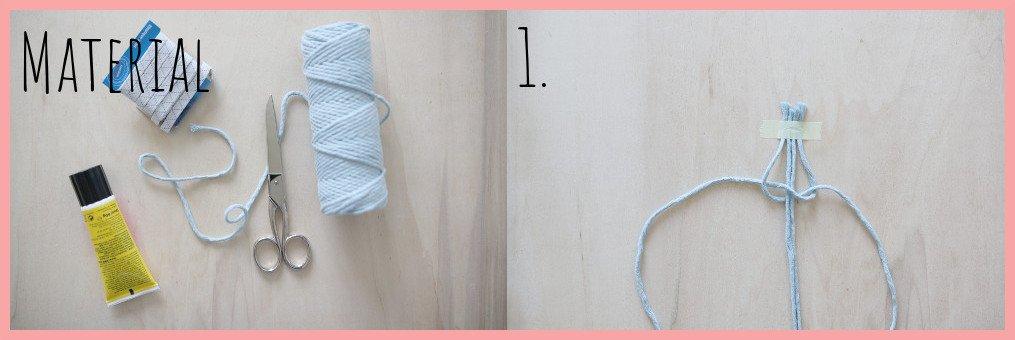Makramee Lesezeichen Version mit Gummi - Material und Schritt 1