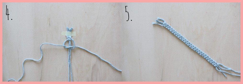 Makramee Lesezeichen Version mit Gummi - Schritt 4-5