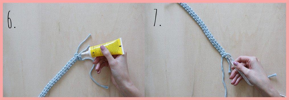 Makramee Lesezeichen Version mit Gummi - Schritt 6-7